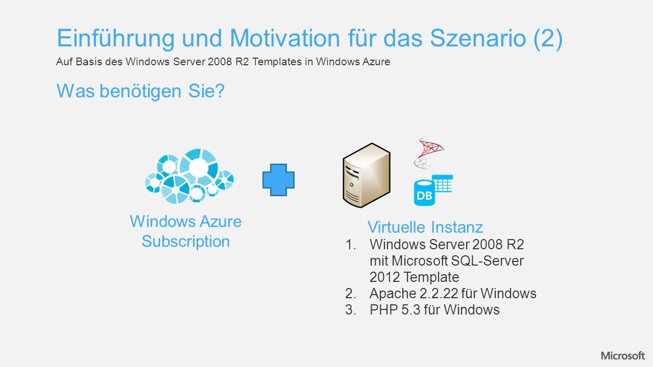 Was benötigen Sie? Auf Basis des Windows Server 2008 R2 Templates in Windows Azure Einführung und Motivation für das Szenario (2) Windows Azure Subscr