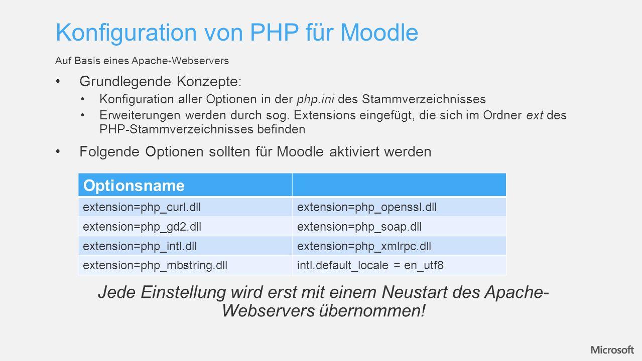 Für Microsoft SQL-Server 2012 sind keine Extensions in PHP integriert Kein Zugriff auf SQL-Server Datenbanken von PHP Anwendungen möglich Download der Microsoft Drivers 3.0 for PHP for SQL-Server Installation der Treiber in das \php\ext Verzeichnis Einfügen der Extension für SQL-Server in die php.ini extension=php_pdo_sqlsrv_53_ts.dll und extension=php_sqlsrv_53_ts.dll Konfiguration weiter SQL-Optionen zur Performanceverbesserung mssql.textlimit = 20971520 und mssql.textsize = 20971520 Besonderheiten für Microsoft SQL-Server 2012 Konfiguration von PHP für SQL-Server