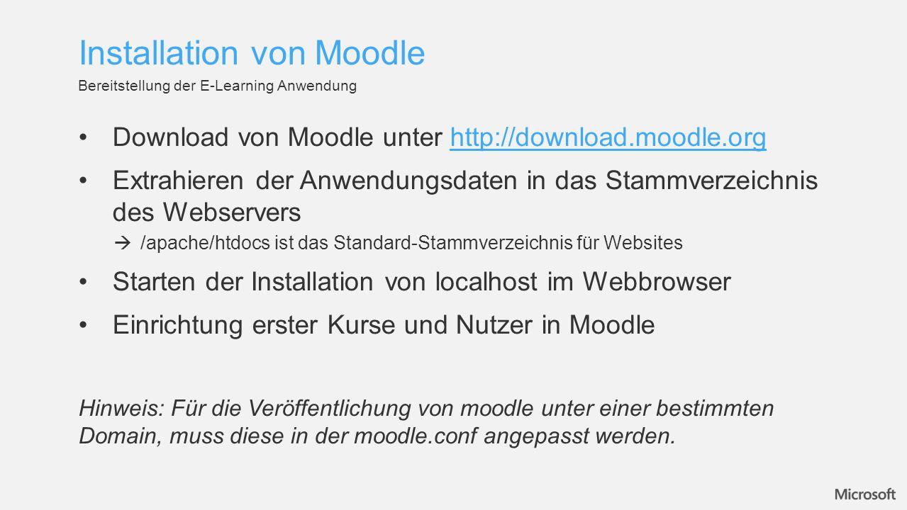 Download von Moodle unter http://download.moodle.orghttp://download.moodle.org Extrahieren der Anwendungsdaten in das Stammverzeichnis des Webservers