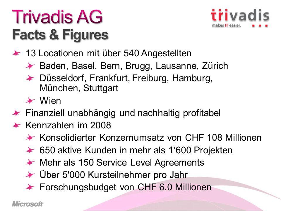 13 Locationen mit über 540 Angestellten Baden, Basel, Bern, Brugg, Lausanne, Zürich Düsseldorf, Frankfurt, Freiburg, Hamburg, München, Stuttgart Wien