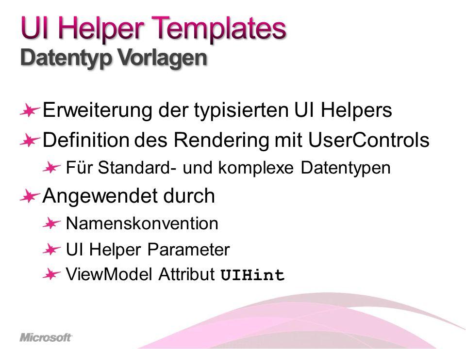 Erweiterung der typisierten UI Helpers Definition des Rendering mit UserControls Für Standard- und komplexe Datentypen Angewendet durch Namenskonvention UI Helper Parameter ViewModel Attribut UIHint