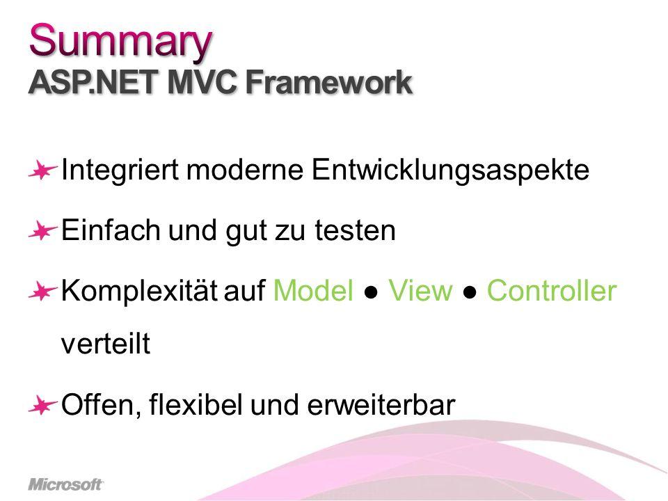 Integriert moderne Entwicklungsaspekte Einfach und gut zu testen Komplexität auf Model View Controller verteilt Offen, flexibel und erweiterbar
