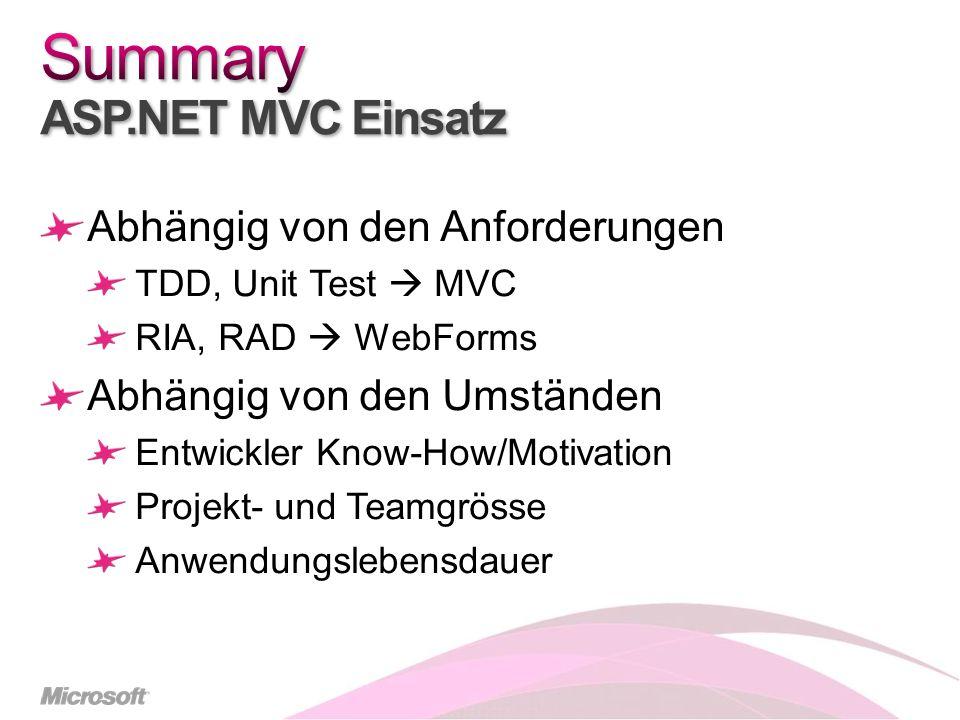 Abhängig von den Anforderungen TDD, Unit Test MVC RIA, RAD WebForms Abhängig von den Umständen Entwickler Know-How/Motivation Projekt- und Teamgrösse Anwendungslebensdauer
