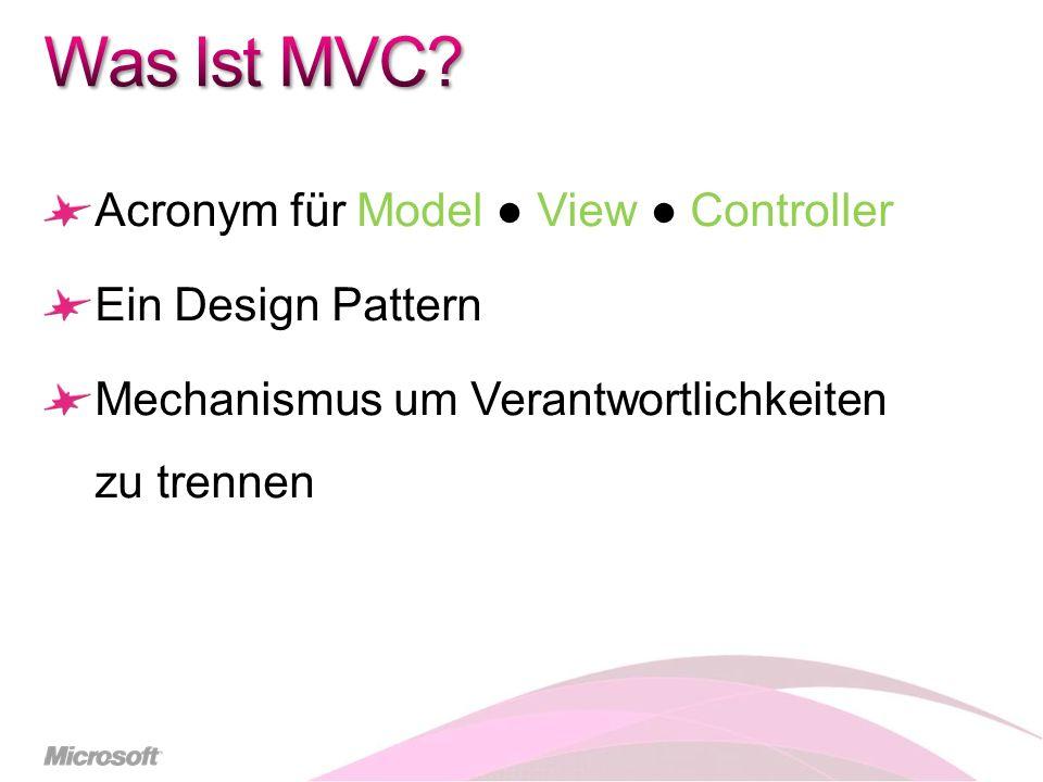 Visual Studio Tools und Templates Struktur- und Namenskonvention Controller Basis Klasse View Methode UpdateModel Methode Methoden Rückgabewert ActionResult