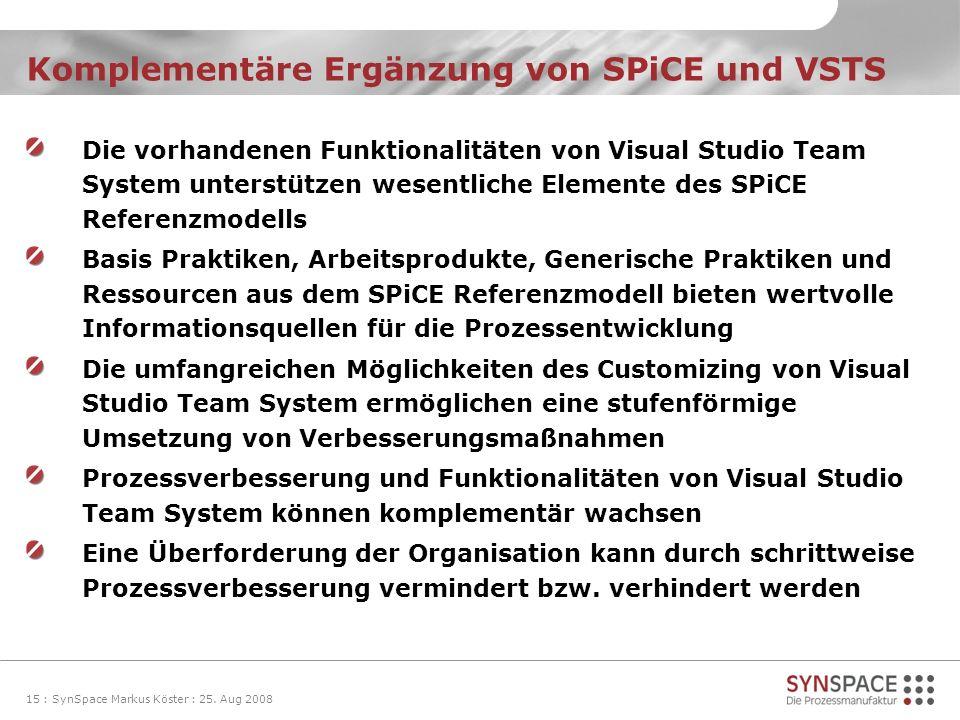 Komplementäre Ergänzung von SPiCE und VSTS Die vorhandenen Funktionalitäten von Visual Studio Team System unterstützen wesentliche Elemente des SPiCE