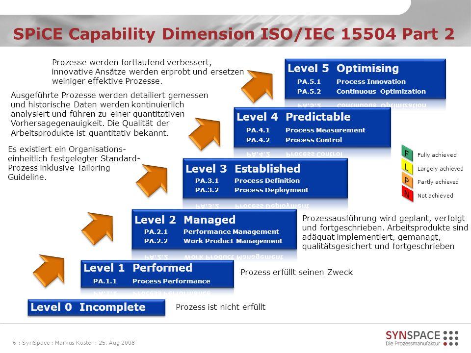 SPiCE Capability Dimension ISO/IEC 15504 Part 2 6 : SynSpace : Markus Köster : 25. Aug 2008 Prozess ist nicht erfüllt Prozess erfüllt seinen Zweck Pro