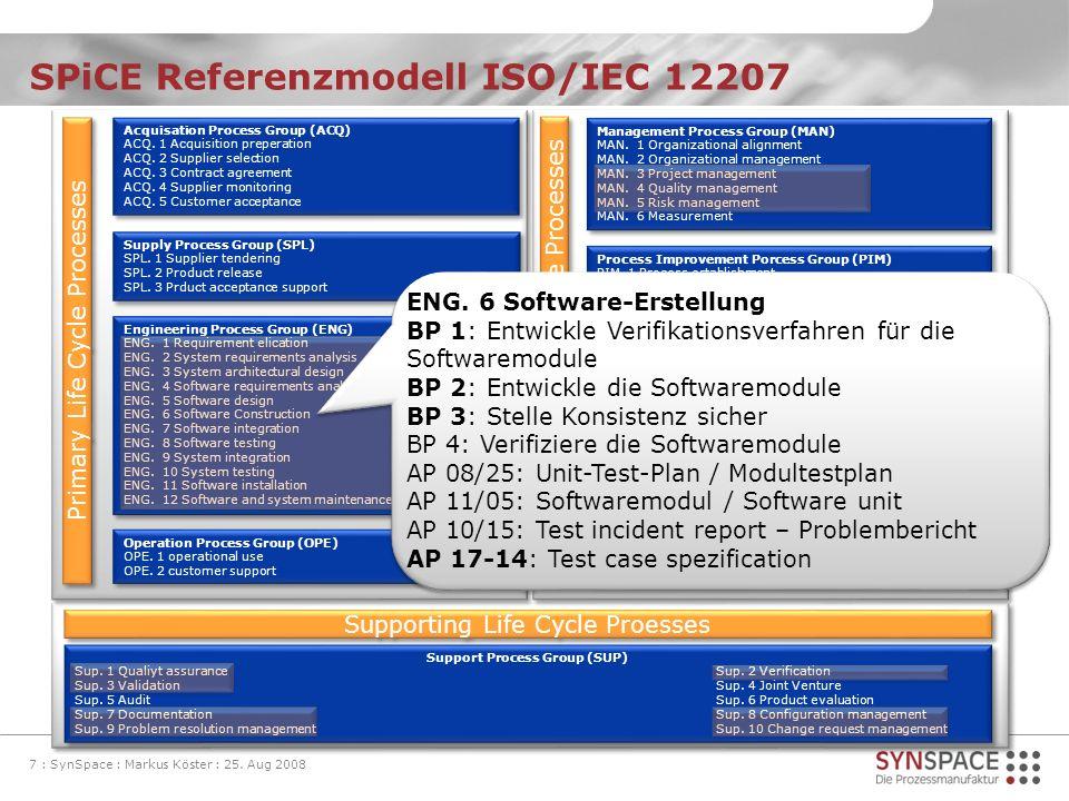 SPiCE Referenzmodell ISO/IEC 12207 7 : SynSpace : Markus Köster : 25. Aug 2008 Acquisation Process Group (ACQ) ACQ. 1 Acquisition preperation ACQ. 2 S