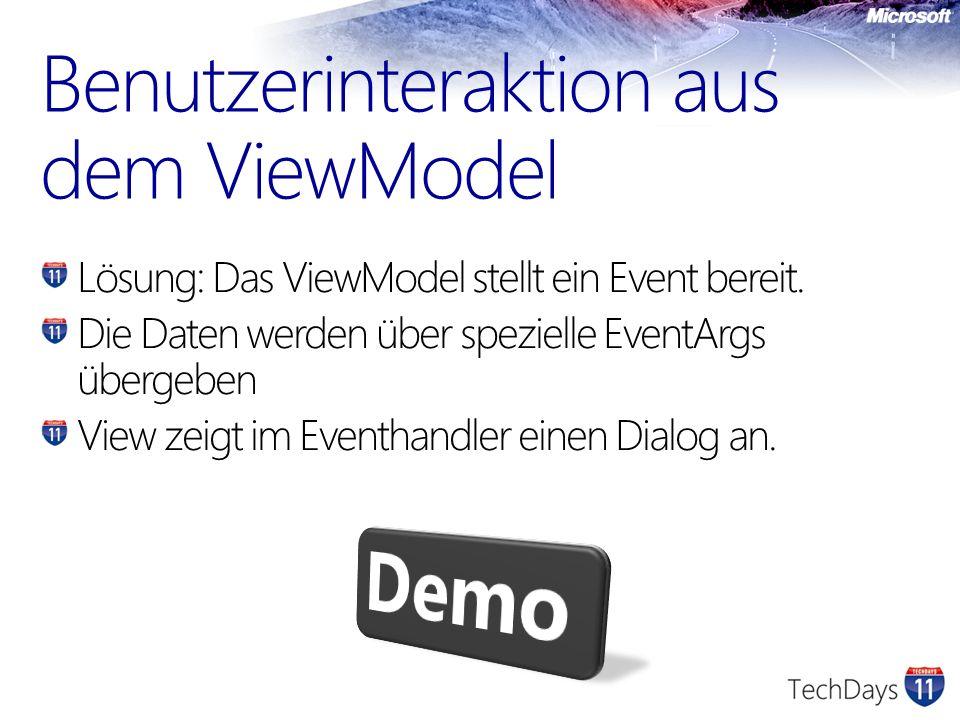 Lösung: Das ViewModel stellt ein Event bereit. Die Daten werden über spezielle EventArgs übergeben View zeigt im Eventhandler einen Dialog an. Benutze