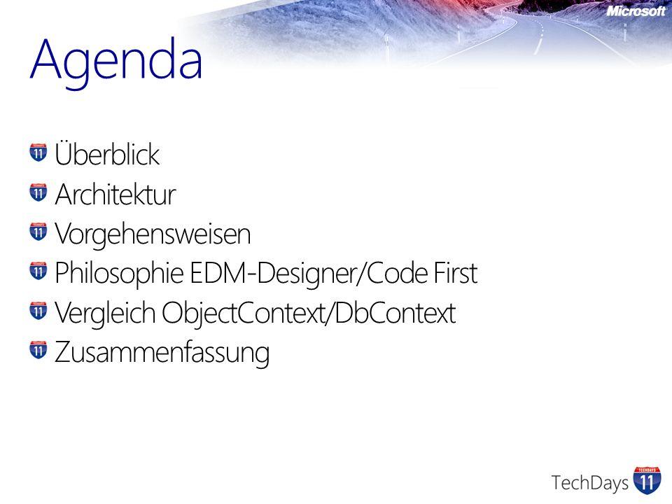 Agenda Überblick Architektur Vorgehensweisen Philosophie EDM-Designer/Code First Vergleich ObjectContext/DbContext Zusammenfassung