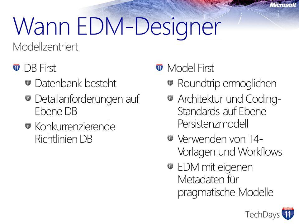 DB First Datenbank besteht Detailanforderungen auf Ebene DB Konkurrenzierende Richtlinien DB Model First Roundtrip ermöglichen Architektur und Coding- Standards auf Ebene Persistenzmodell Verwenden von T4- Vorlagen und Workflows EDM mit eigenen Metadaten für pragmatische Modelle