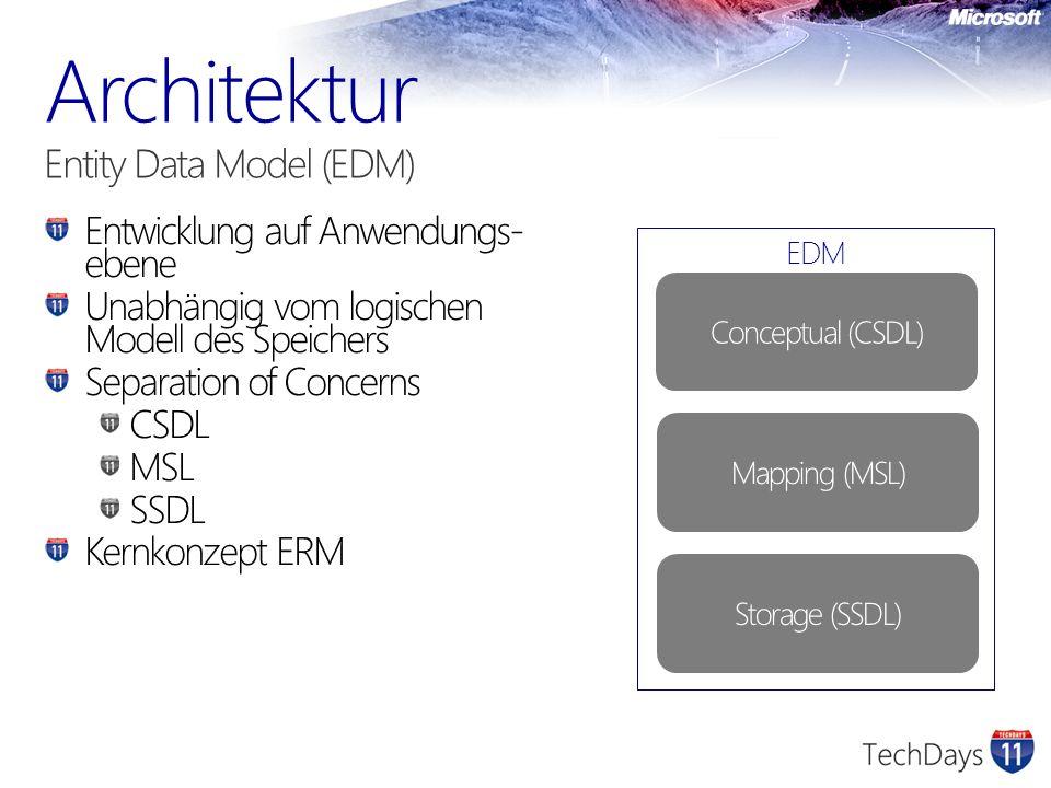 Entwicklung auf Anwendungs- ebene Unabhängig vom logischen Modell des Speichers Separation of Concerns CSDL MSL SSDL Kernkonzept ERM EDM