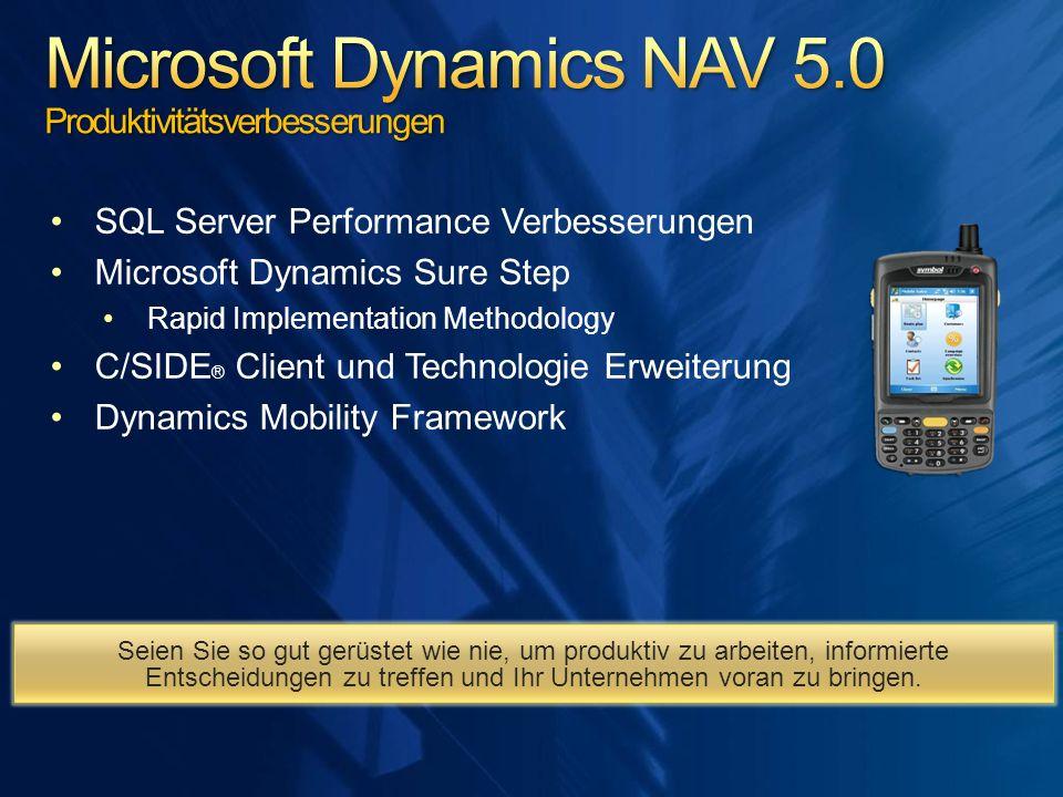 SQL Server Performance Verbesserungen Microsoft Dynamics Sure Step Rapid Implementation Methodology C/SIDE ® Client und Technologie Erweiterung Dynami