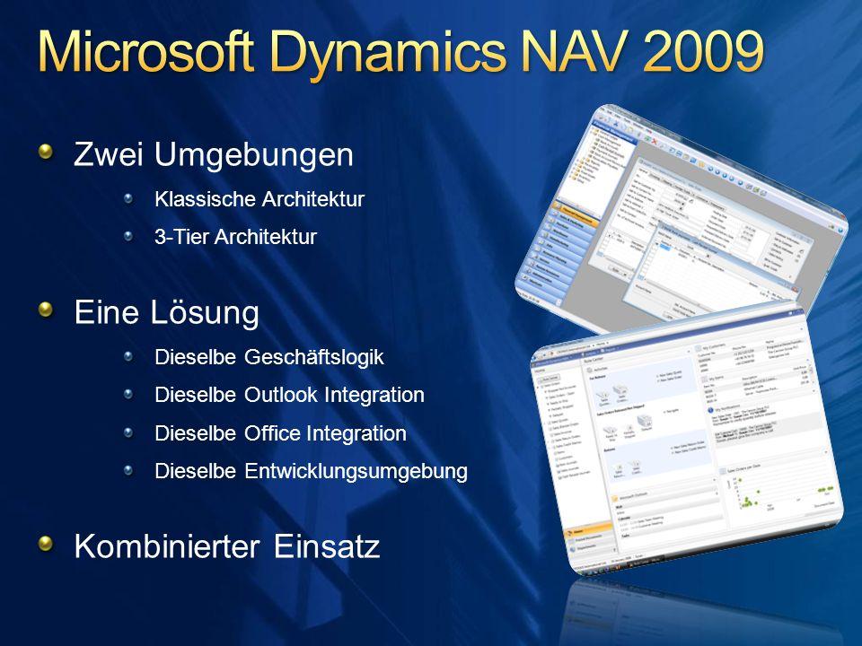 Zwei Umgebungen Klassische Architektur 3-Tier Architektur Eine Lösung Dieselbe Geschäftslogik Dieselbe Outlook Integration Dieselbe Office Integration
