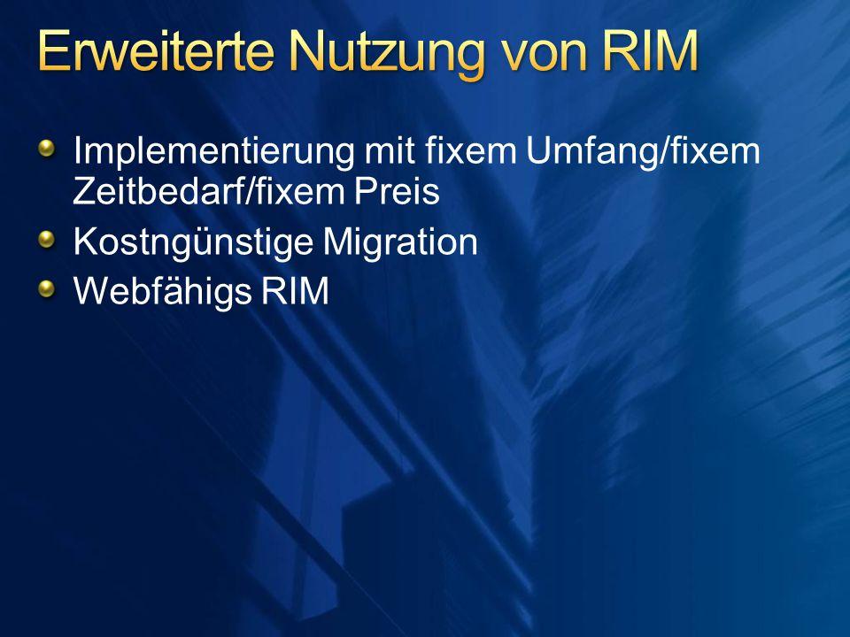 Implementierung mit fixem Umfang/fixem Zeitbedarf/fixem Preis Kostngünstige Migration Webfähigs RIM