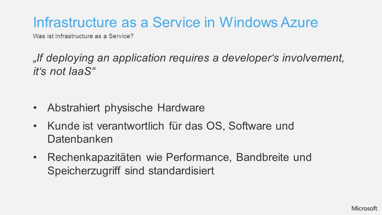 Übersicht Infrastructure as a Service in Windows Azure