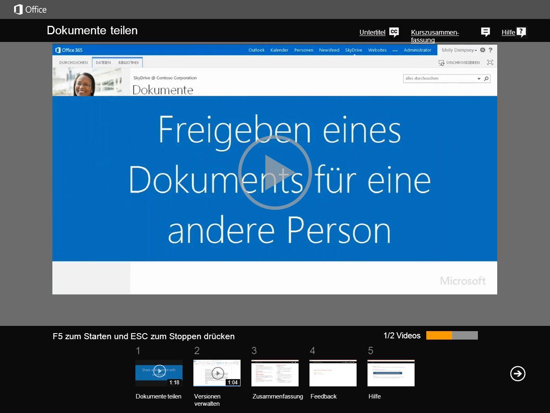 51 234 Kurszusammen- fassung Hilfe In Ihrer SkyDrive Pro-Bibliothek sind zwei Versionen eines jeden Dokuments gespeichert, das Sie für andere freigegeben haben: die Version, die kürzlich von einem Kollegen bearbeitet wurde, und die Version, die Sie zuletzt bearbeitet haben.