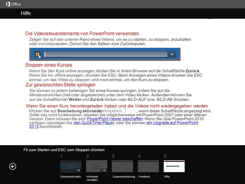 Hilfe Kurszusammenfass ung F5 zum Starten und ESC zum Stoppen drücken Hilfe ZusammenfassungFeedback Hilfe 51234 Dokumente teilenVersionen verwalten 1:181:04