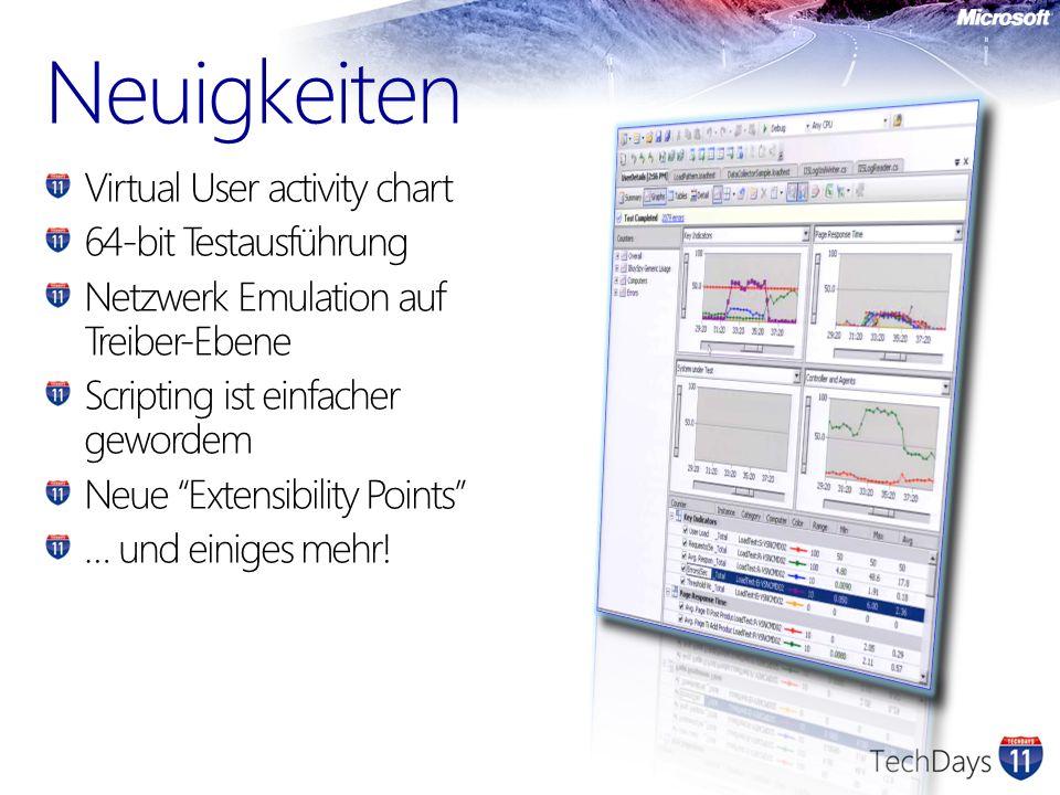 Neuigkeiten Virtual User activity chart 64-bit Testausführung Netzwerk Emulation auf Treiber-Ebene Scripting ist einfacher gewordem Neue Extensibility