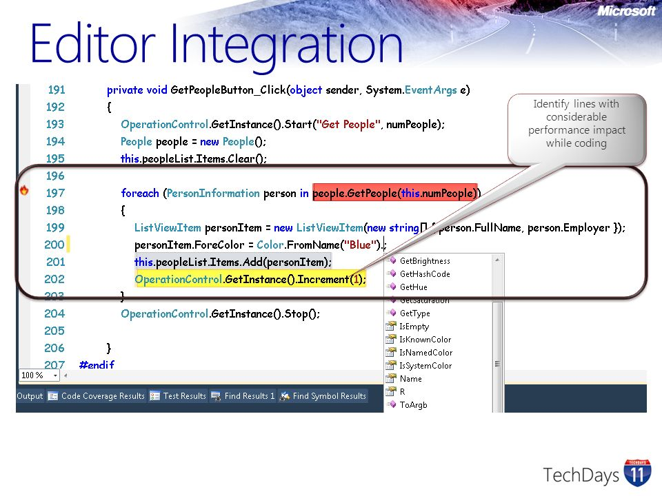 Editor Integration Identify lines with considerable performance impact while coding