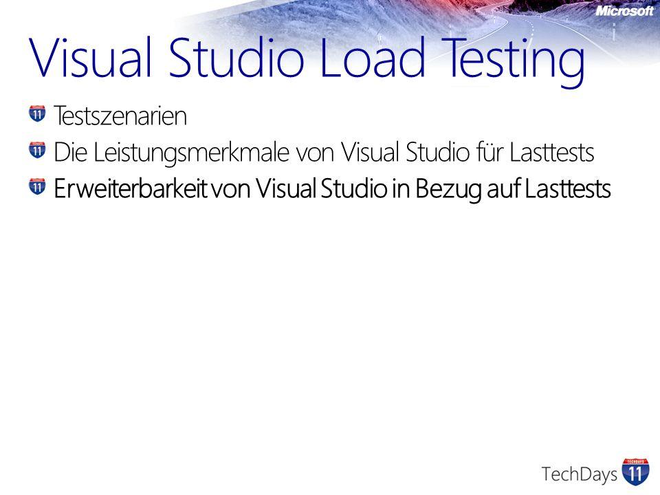 Visual Studio Load Testing Testszenarien Die Leistungsmerkmale von Visual Studio für Lasttests Erweiterbarkeit von Visual Studio in Bezug auf Lasttest