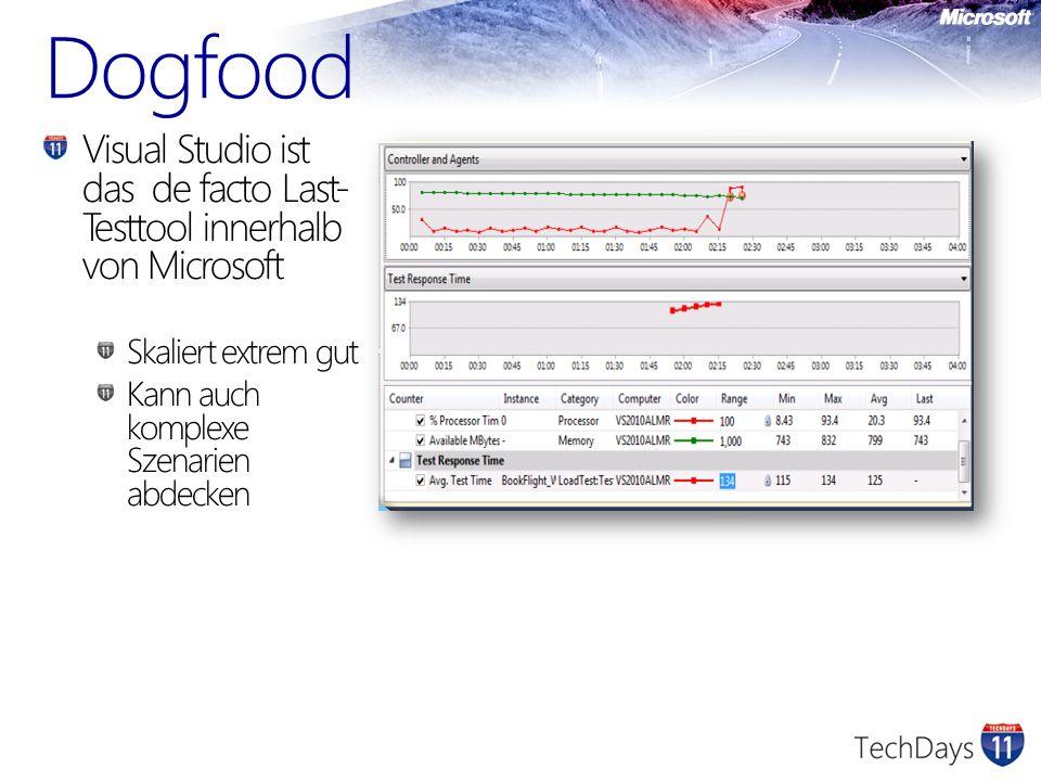 Dogfood Visual Studio ist das de facto Last- Testtool innerhalb von Microsoft Skaliert extrem gut Kann auch komplexe Szenarien abdecken