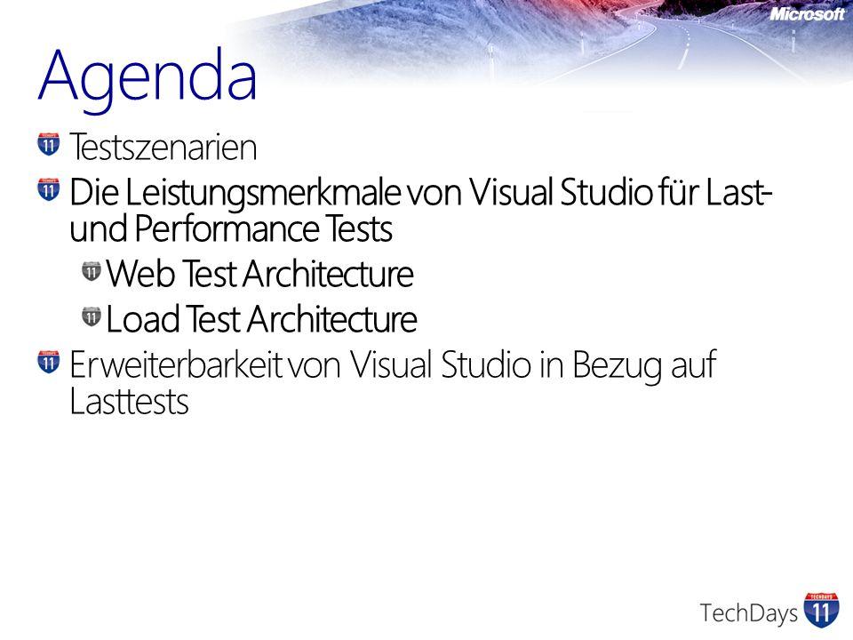Agenda Testszenarien Die Leistungsmerkmale von Visual Studio für Last- und Performance Tests Web Test Architecture Load Test Architecture Erweiterbark