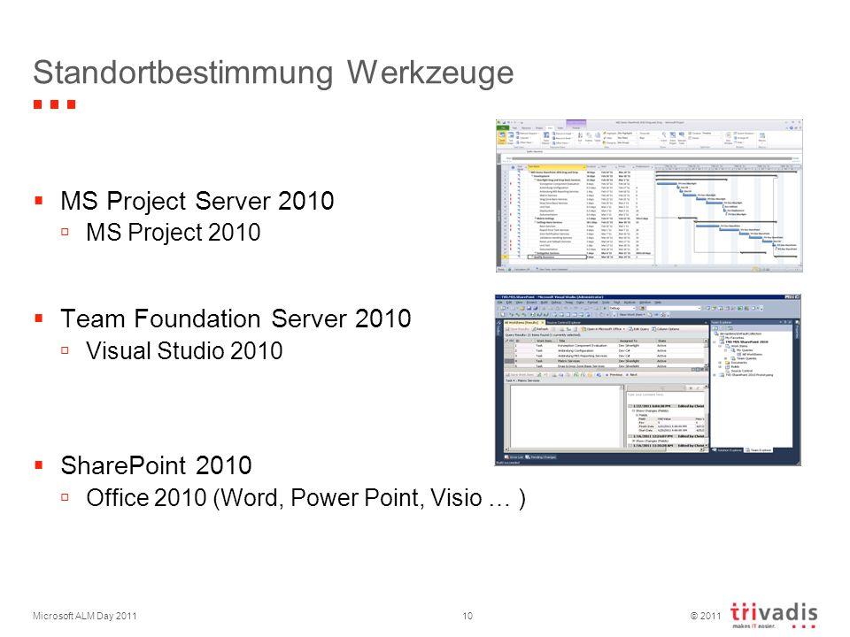 © 2011 Microsoft ALM Day 201110 Standortbestimmung Werkzeuge MS Project Server 2010 MS Project 2010 Team Foundation Server 2010 Visual Studio 2010 SharePoint 2010 Office 2010 (Word, Power Point, Visio … )
