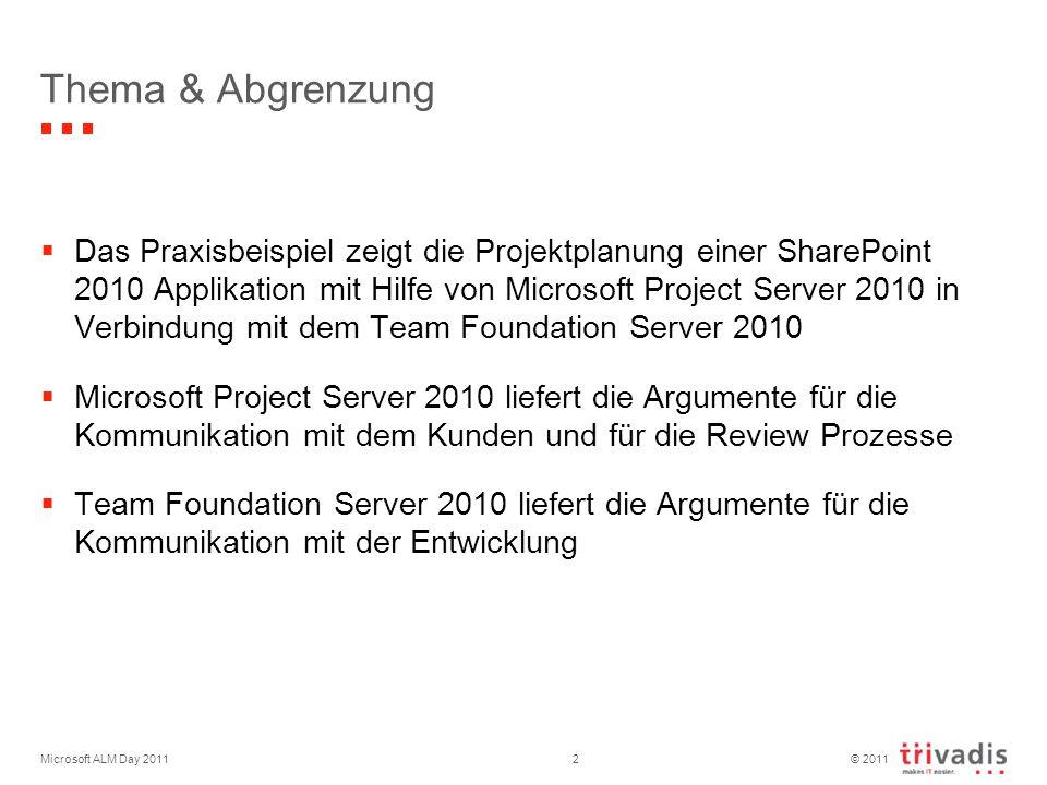 © 2011 Microsoft ALM Day 201113 Agenda Standortbestimmung Betriebskalender Projektplanung in Project Server 2010 Übergabe Teilprojekt an TFS 2010 Feedback von Entwicklung TFS 2010 Wissen vermitteln ist erst der Anfang.