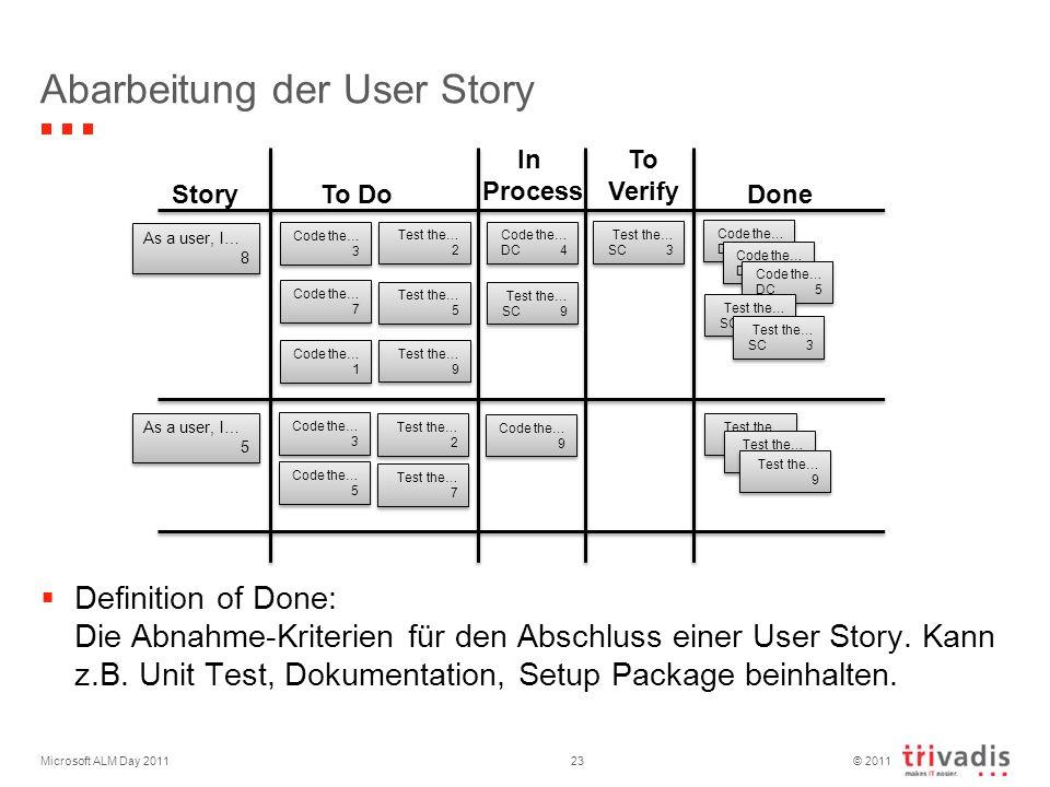 © 2011 Abarbeitung der User Story Definition of Done: Die Abnahme-Kriterien für den Abschluss einer User Story.