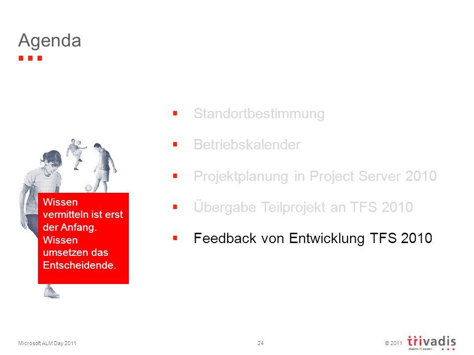 © 2011 Microsoft ALM Day 201124 Agenda Standortbestimmung Betriebskalender Projektplanung in Project Server 2010 Übergabe Teilprojekt an TFS 2010 Feedback von Entwicklung TFS 2010 Wissen vermitteln ist erst der Anfang.