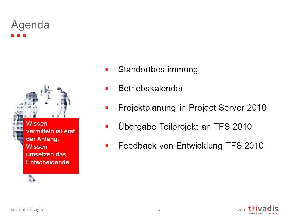 © 2011 Microsoft ALM Day 20113 Agenda Standortbestimmung Betriebskalender Projektplanung in Project Server 2010 Übergabe Teilprojekt an TFS 2010 Feedback von Entwicklung TFS 2010 Wissen vermitteln ist erst der Anfang.