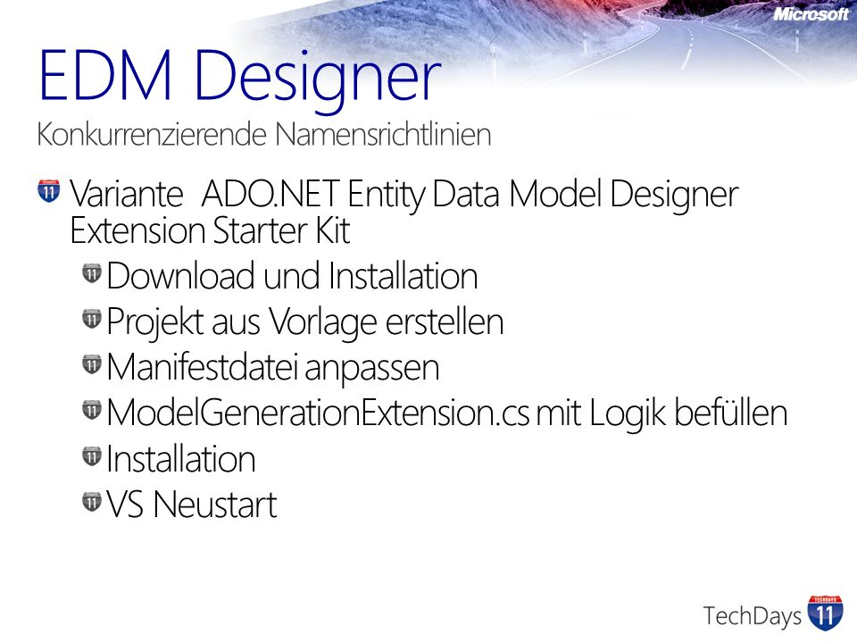 Variante ADO.NET Entity Data Model Designer Extension Starter Kit Download und Installation Projekt aus Vorlage erstellen Manifestdatei anpassen Model
