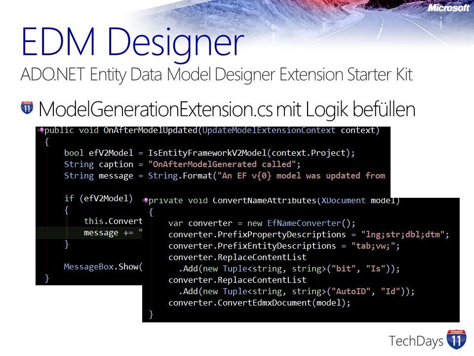 ModelGenerationExtension.cs mit Logik befüllen