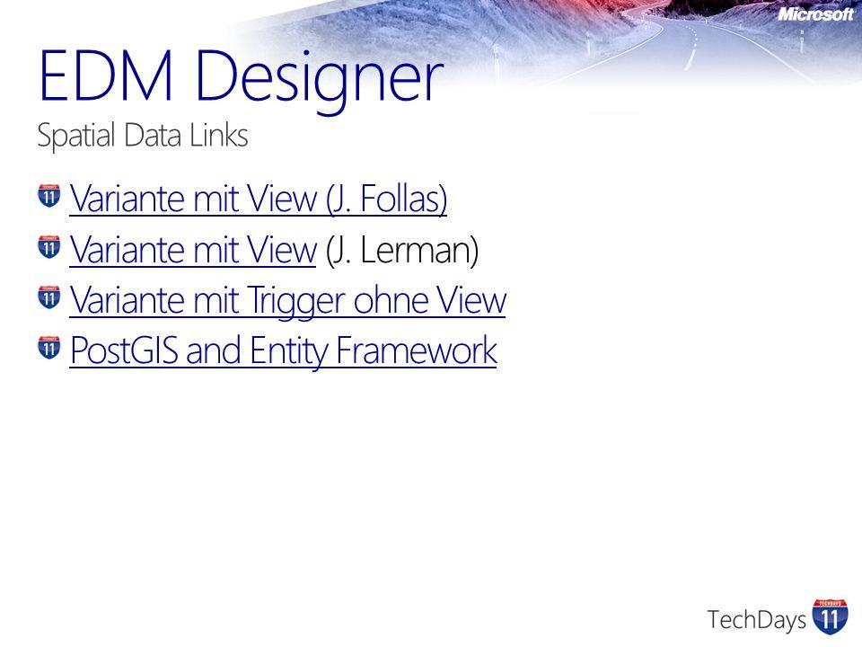 Variante mit View (J. Follas) Variante mit ViewVariante mit View (J. Lerman) Variante mit Trigger ohne View PostGIS and Entity Framework