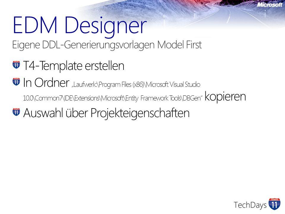T4-Template erstellen In Ordner Laufwerk:\Program Files (x86)\Microsoft Visual Studio 10.0\Common7\IDE\Extensions\Microsoft\Entity Framework Tools\DBG