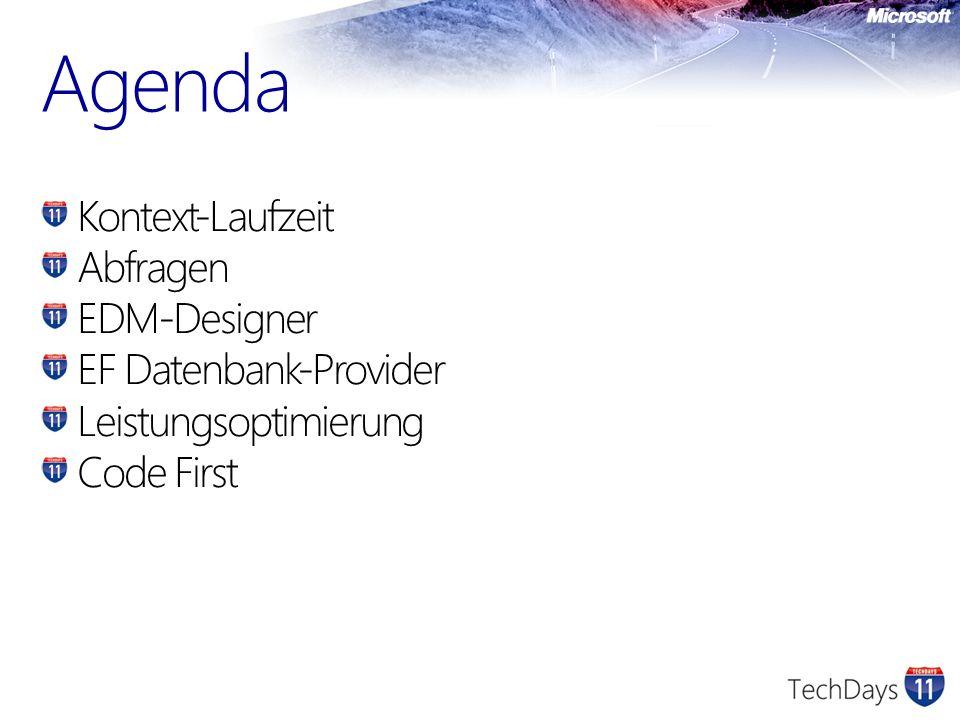 Agenda Kontext-Laufzeit Abfragen EDM-Designer EF Datenbank-Provider Leistungsoptimierung Code First
