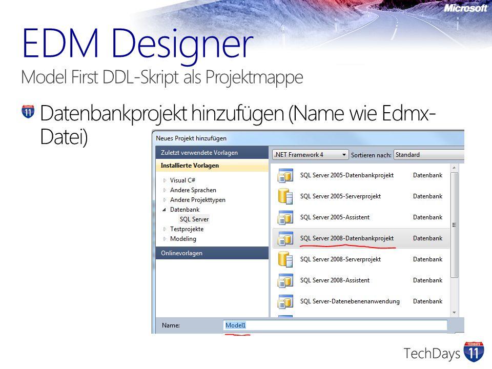 Datenbankprojekt hinzufügen (Name wie Edmx- Datei)