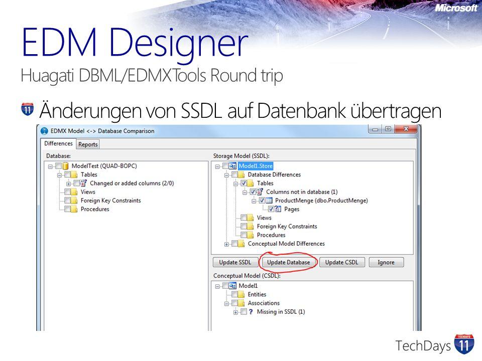 Änderungen von SSDL auf Datenbank übertragen