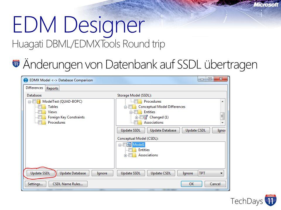 Änderungen von Datenbank auf SSDL übertragen