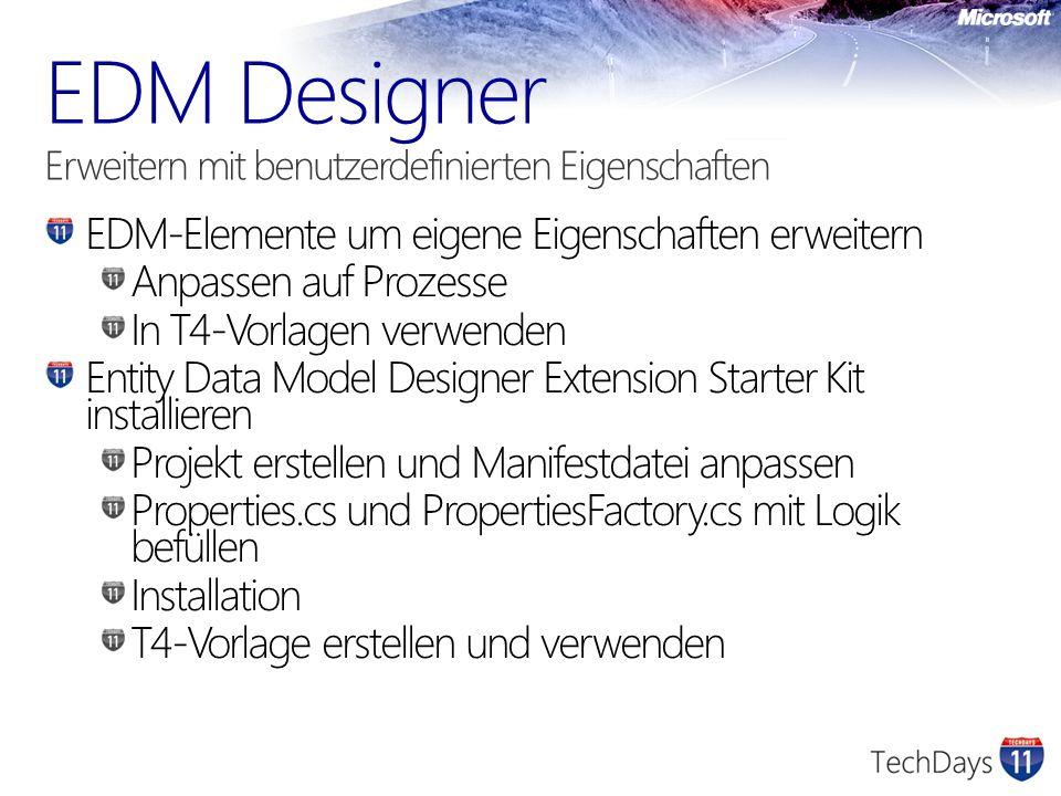 EDM-Elemente um eigene Eigenschaften erweitern Anpassen auf Prozesse In T4-Vorlagen verwenden Entity Data Model Designer Extension Starter Kit install
