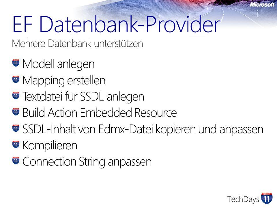 Modell anlegen Mapping erstellen Textdatei für SSDL anlegen Build Action Embedded Resource SSDL-Inhalt von Edmx-Datei kopieren und anpassen Kompiliere