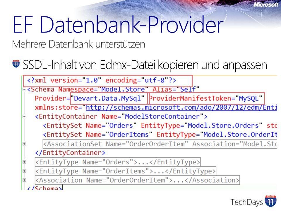 SSDL-Inhalt von Edmx-Datei kopieren und anpassen
