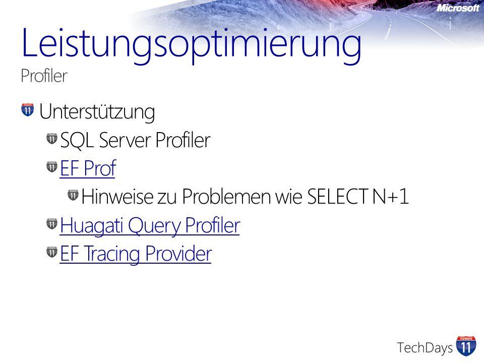 Unterstützung SQL Server Profiler EF Prof Hinweise zu Problemen wie SELECT N+1 Huagati Query Profiler EF Tracing Provider