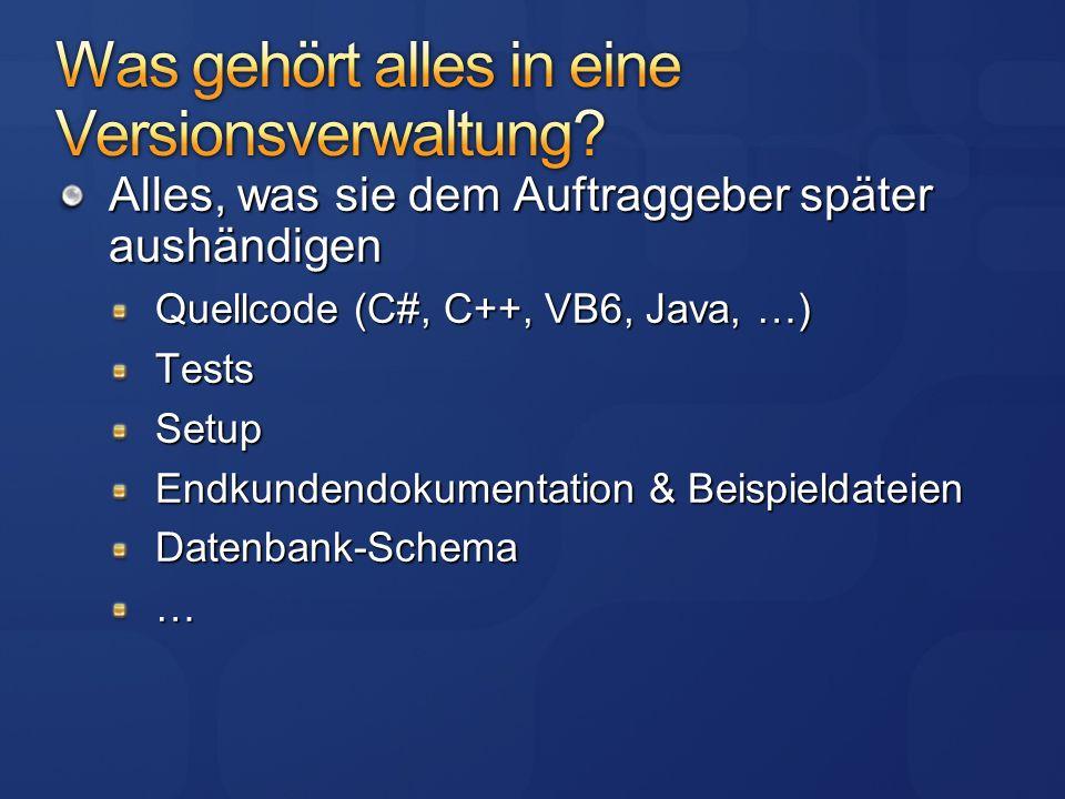 Alles, was sie dem Auftraggeber später aushändigen Quellcode (C#, C++, VB6, Java, …) TestsSetup Endkundendokumentation & Beispieldateien Datenbank-Schema…