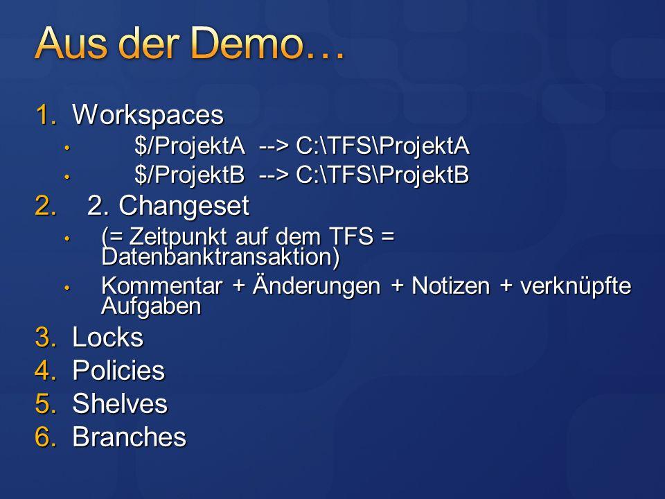 Änderungen erst lokal im Workspace erst nach Check-In ist es für alle sichtbar Check-Out holt nicht die neuste Version einstellbar (ab TFS 2008) Links werden durch Branching abgebildet und haben nun einen expliziten Schritt Standardmäßig ist mehrfaches Auschecken erlaubt