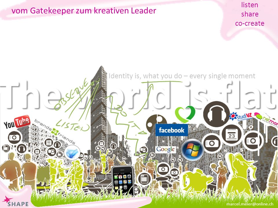 The world is flat marcel.meier@online.ch vom Gatekeeper zum kreativen Leader listen share co-create Identity is, what you do – every single moment