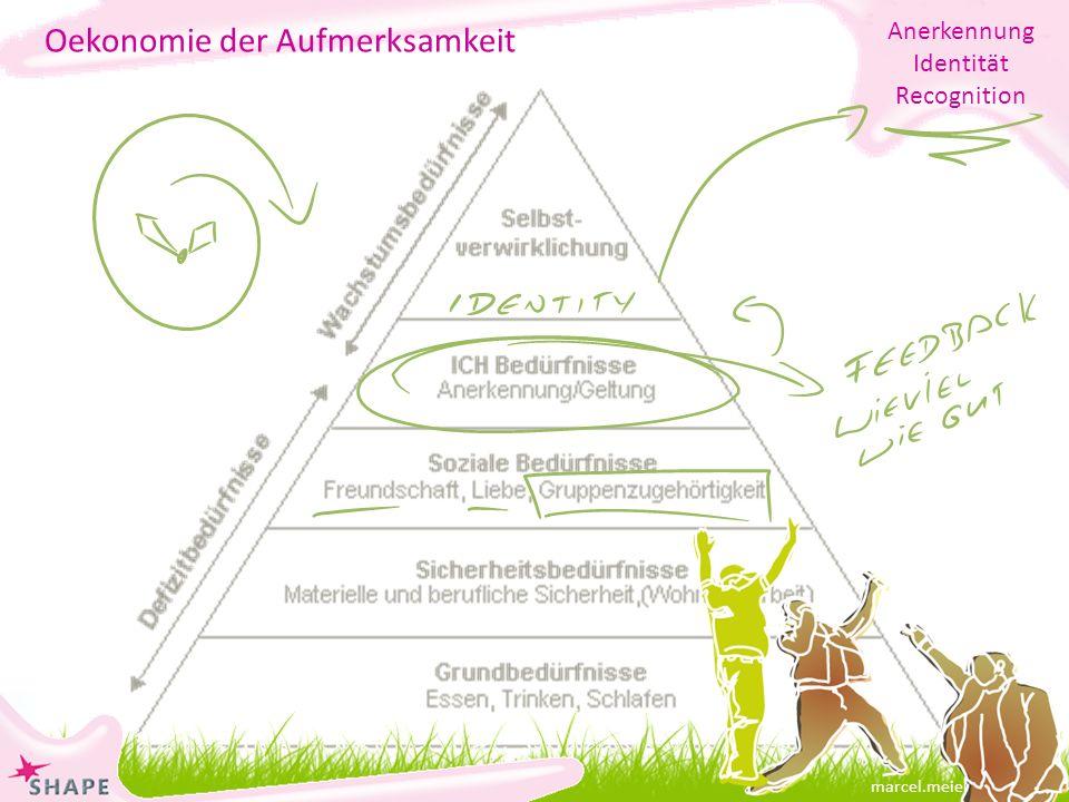 marcel.meier@online.ch Oekonomie der Aufmerksamkeit Anerkennung Identität Recognition