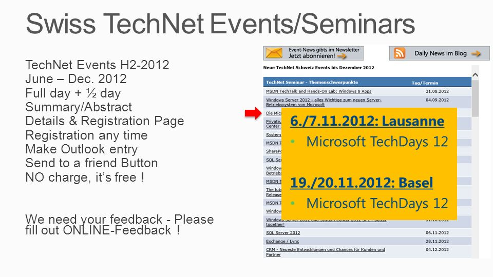 Swiss TechNet Events/Seminars TechNet Events H2-2012 June – Dec.