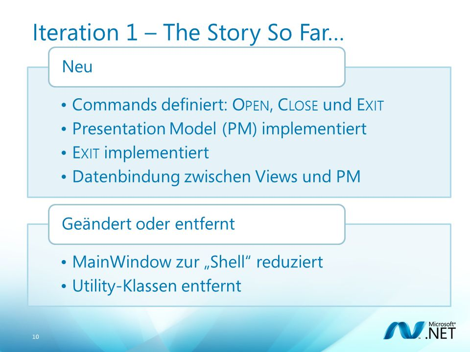 10 Iteration 1 – The Story So Far… Commands definiert: O PEN, C LOSE und E XIT Presentation Model (PM) implementiert E XIT implementiert Datenbindung zwischen Views und PM Neu MainWindow zur Shell reduziert Utility-Klassen entfernt Geändert oder entfernt