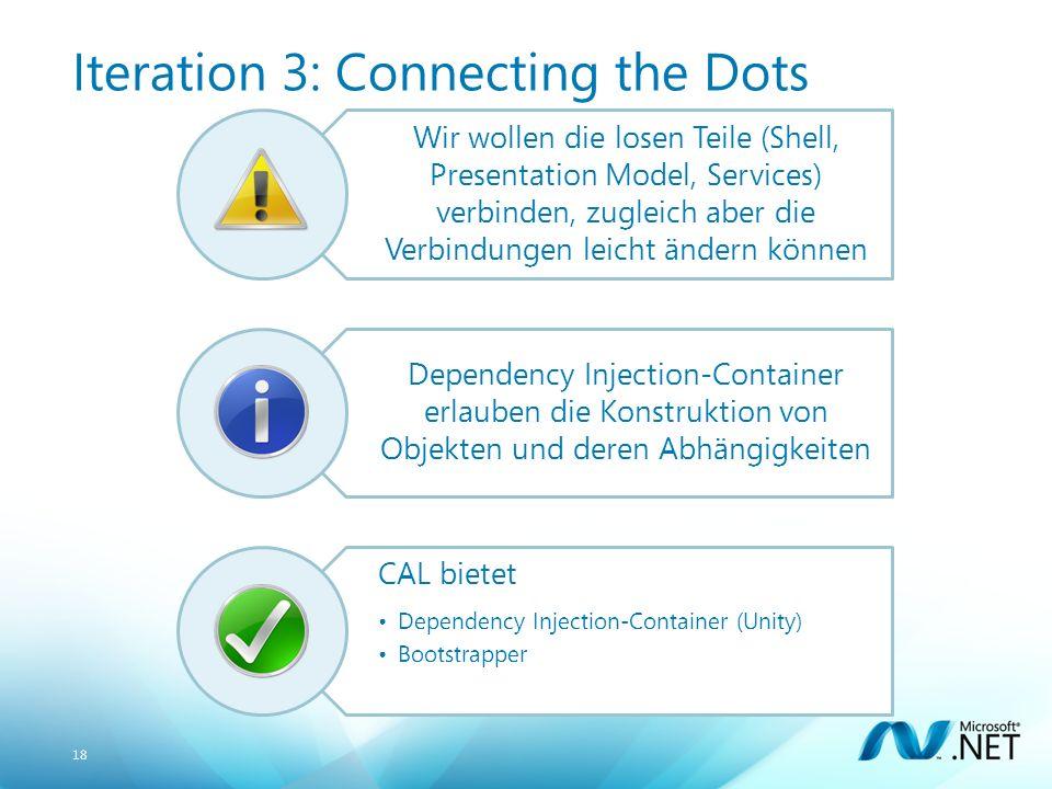 18 Iteration 3: Connecting the Dots Wir wollen die losen Teile (Shell, Presentation Model, Services) verbinden, zugleich aber die Verbindungen leicht ändern können Dependency Injection-Container erlauben die Konstruktion von Objekten und deren Abhängigkeiten CAL bietet Dependency Injection-Container (Unity) Bootstrapper